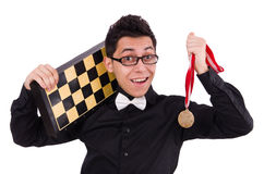 Funny chess player isolated Royalty Free Stock Image