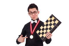 Funny chess player isolated Stock Image