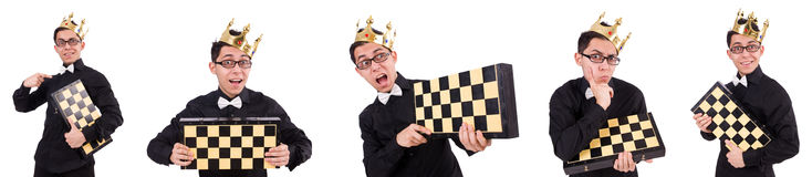 The funny chess player isolated on white stock image