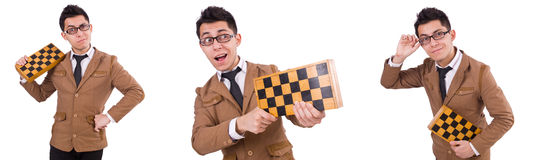 The funny chess player isolated on white Royalty Free Stock Photos