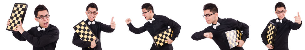 The funny chess player isolated on white royalty free stock images