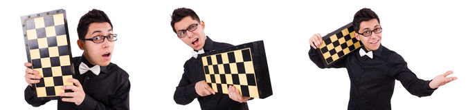 The funny chess player isolated on white Royalty Free Stock Image