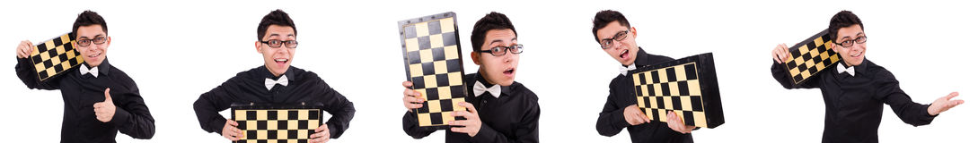 The funny chess player isolated on white Royalty Free Stock Photo