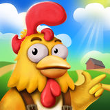 The Funny Chick Farmer And His Farm. Under the Sun. Video Games Digital CG Artwork, Concept Illustration, Realistic Cartoon Style Background and Character Stock Photography
