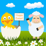 Funny Chick & Lamb Wishing Happy Easter Royalty Free Stock Image