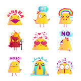 Funny Chicken Cartoon Character Icons Set. Funny chicken favorite cartoon character icons collection with happy love and smile images isolated vector Stock Image