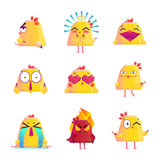 Funny Chicken Cartoon Character Icons Set. Funny chicken kids favorite cartoon character icons collection with happy love and smile images isolated vector Royalty Free Stock Photos