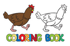 Funny chicken coloring book. Coloring picture or coloring book of little funny chicken or hen running around the yard Royalty Free Stock Photo