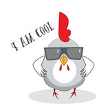 Funny chicken cool. Character illustration Royalty Free Stock Image