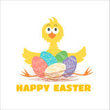 Funny chicken and Easter eggs Royalty Free Stock Image