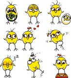 Funny chickens (1). 9 smiley chickens individually grouped for easy copy-n-paste. Vector Royalty Free Stock Photo