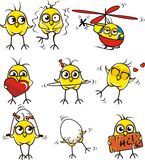 Funny chickens (2). 9 smiley chickens individually grouped for easy copy-n-paste. Vector Stock Photo