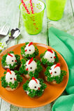 Funny chickens from eggs on the Easter table Royalty Free Stock Photo