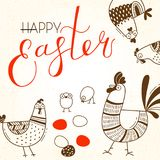 Funny chickens and rooster, eggs. Greeting card with Happy Easter writing. Vector illustration vector illustration