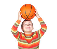 Funny child with a basketball Royalty Free Stock Images