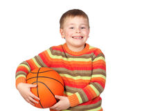 Funny child with a basketball Stock Image