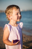 Funny child at the beach Royalty Free Stock Image