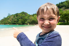 Funny child on the beach Royalty Free Stock Photography