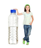 Funny child with a big water bottle Royalty Free Stock Photography