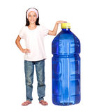 Funny child with a big water bottle Royalty Free Stock Images