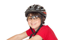 Funny child bike helmet Royalty Free Stock Image