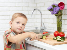 Funny child boy sets the table for dinner.little chef cuts vegetables Stock Images
