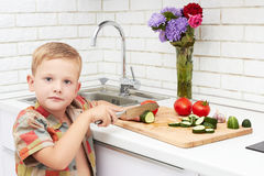 Funny child boy sets the table for dinner.little chef cuts vegetables Stock Photos