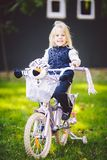 Funny child Caucasian girl blonde near a purple bike with a basket and a zebra toy in an outside park on a green lawn grass cart. At home stock photo