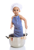 Funny child chef in pot Royalty Free Stock Image