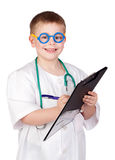Funny child with doctor uniform Royalty Free Stock Photography