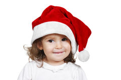Funny child dressed santa hat, isolated on white Royalty Free Stock Photos