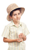 Funny child drinking lemonade Stock Photos