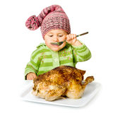 Funny child eating Stock Photos