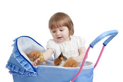 Funny child feeding attractive kitten from bottle Stock Images