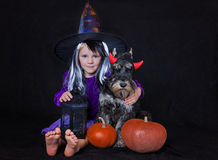 Funny child girl dressed witch costume with pumpkin. Halloween holidays concept. Stock Images