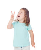 Funny child girl making the symbol winner Stock Photos