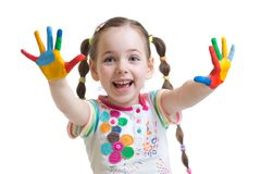 Funny child girl with painted hands Royalty Free Stock Images
