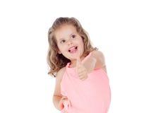 Funny child girl saying Ok Stock Photography