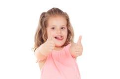 Funny child girl saying Ok Stock Image