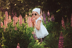 Funny child girl in sunglasses playing on summer lupin field Stock Photo