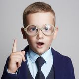 Funny child in glasses.genius Kids Royalty Free Stock Photography