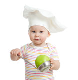 Funny child with green apples healthy food Stock Photos