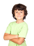 Funny child with green t-shirt Royalty Free Stock Photography