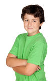 Funny child with green t-shirt Royalty Free Stock Photos