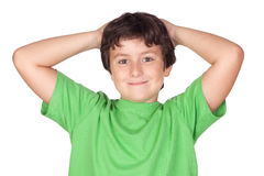 Funny child with green t-shirt Stock Photo