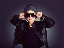 Funny child in hat.fashionable little boy in sunglasses Royalty Free Stock Photography
