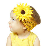 Funny child isolated on white, hairstyle with flower Royalty Free Stock Photo