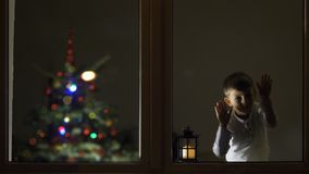 Funny child look careful on window in the night for Santa Claus coming, Christmas tree, waiting big celebration, conceptual. 4K stock footage