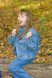 Funny child in nature. Royalty Free Stock Image