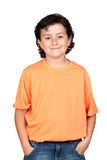 Funny child with orange t-shirt Stock Image